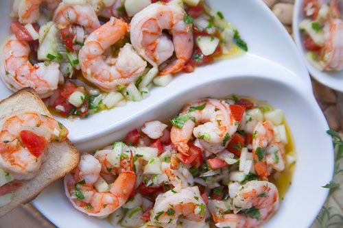Shrimps to the Vinaigrette with a toasted bread