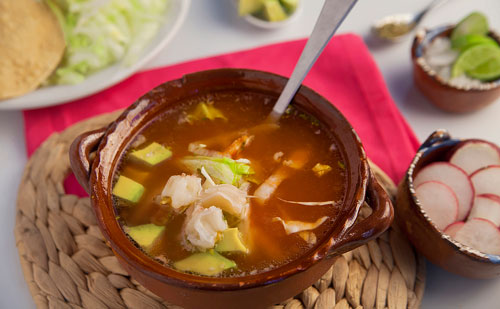 Red Pozole with Pork accompanied of many ingredients