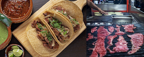 Tacos al Carbon prepared at a stall