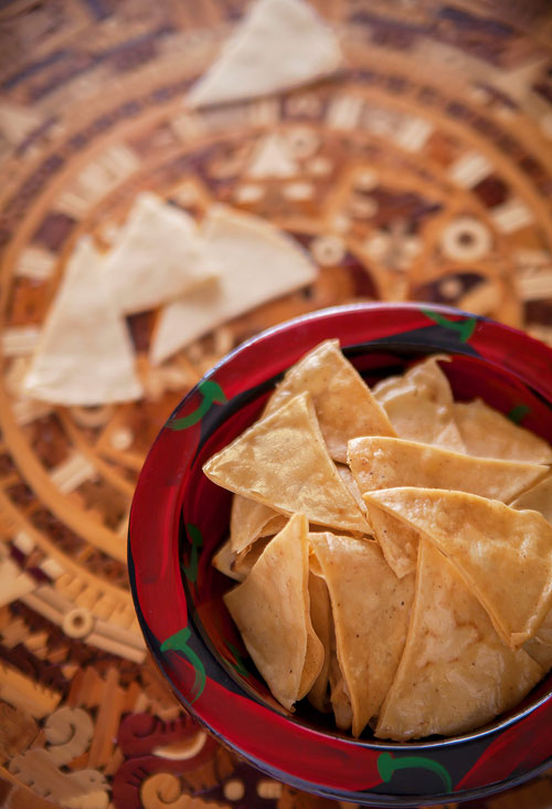 Fried Tortilla Chips over the Aztec Calendar